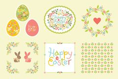 Easter set of design elements in pastel colors. Gentle seamless pattern and frame for announcements, greeting cards stock illustration