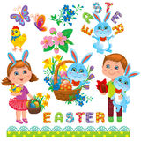Easter set of design Stock Photos