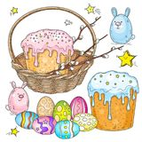 Easter set. Easter cake with willow branches in a wicker basket and painted Easter eggs. Vector illustration sketch, of comic style colorful icons, set Easter Royalty Free Stock Image
