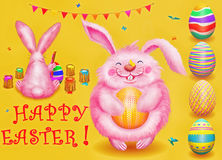 Easter set with easter eggs,bunnies , butterflies on yellow  background Stock Images