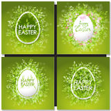 Easter set with easter eggs on green background. Royalty Free Stock Photo