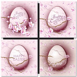 Easter set with easter eggs on pink background. Stock Image