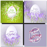 Easter set with easter eggs on purple background. Royalty Free Stock Photo