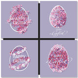 Easter set with easter eggs on purple background. Stock Photo