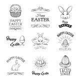 Easter set. Eggs, Bird nest, Bunny, Egg holder. Easter symbols. Swirls, decoration. Vector. vector illustration