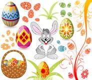 Easter set with eggs, rabbit a royalty free illustration