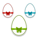 Easter set eggs wrapping colorful bows Royalty Free Stock Photography