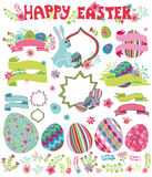Easter set.Flowers,eggs,ribbon,headline,labels Stock Photos
