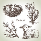 Easter set. Hand drawn illustrations Royalty Free Stock Images