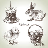 Easter set. Hand drawn vintage illustrations Stock Images