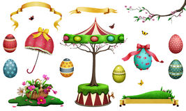 Easter set. Easter holiday set of fantasy beautiful spring Easter item for greeting card or poster or illustration for your creativity. Computer graphics royalty free illustration