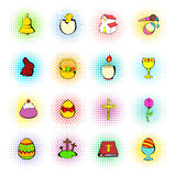 Easter set icons, comics style Royalty Free Stock Photography
