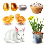 Easter set of items. Rabbit, daffodils, eggs, chickens, cupcake vector illustration