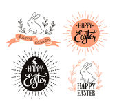 Easter set with lettering, sunburst and rabbit. Vector illustration. Greeting cards. Royalty Free Stock Images