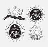 Easter set with lettering, sunburst and rabbit. Vector illustration. Happy Easter greeting cards. Royalty Free Stock Photos
