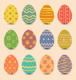 Easter set old ornamental eggs with shadows Royalty Free Stock Image