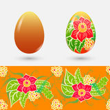 Easter set. Painted easter egg and clean. Seamless floral pattern. Royalty Free Stock Image