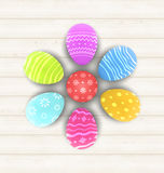 Easter set painted eggs on wooden texture Royalty Free Stock Image
