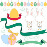 Easter set, ribbons, labels. Vector illustration Stock Photo