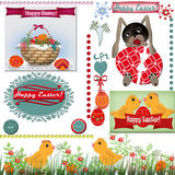 Easter set scrapbook background. With text and basket with eggs Royalty Free Stock Photo