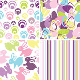 Easter set with seamless backgrounds. In pastel colors royalty free illustration