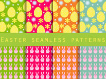 Easter. Set of seamless patterns. Easter Bunny and Easter egg. T Stock Photo