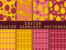 Easter. Set of seamless patterns. Easter Bunny and Easter egg. Stock Photos