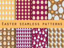 Easter. Set of seamless patterns. Easter Bunny and Easter egg. Template for wallpaper, tile, tissues and structures. Stock Image