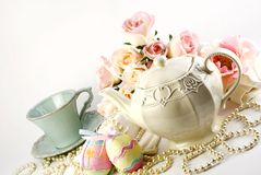 easter set tea Royaltyfri Bild