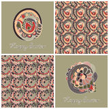Easter set with two backgrounds and two seamless patterns Royalty Free Stock Photography