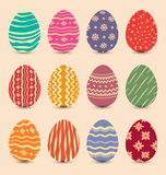 Easter set vintage ornate eggs with shadows Stock Image