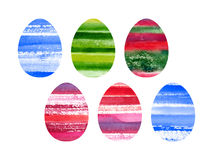 Easter set of watercolor colored eggs Royalty Free Stock Images