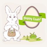 Easter set. White bunny with basket, egg label and ribbon Royalty Free Stock Photo