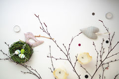 Easter set with wooden bird 11 Royalty Free Stock Photography