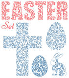 Easter set. Word EASTER, Easter eggs, rabbit and cross  made of Royalty Free Stock Photos