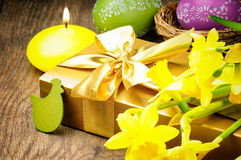 Easter setting with gift box Stock Images