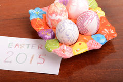 Easter setting with gift box and spring decoration Royalty Free Stock Photo