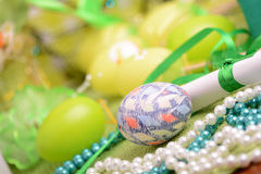 Easter setting with gift box and spring decoration Stock Photos