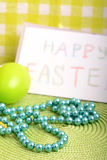 Easter setting with gift box and spring decoration Stock Image