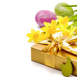 Easter setting with gift box and yellow daffodils Stock Photos