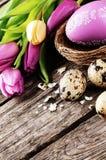 Easter setting in purple tone Stock Photo