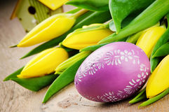 Easter setting with yellow tulips Royalty Free Stock Photo