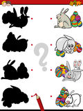 Easter shadow task. Cartoon Illustration of Educational Shadow Task for Children with Easter Bunny Characters Royalty Free Stock Photography