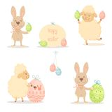 Easter sheep and bunny Stock Photography