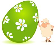 Easter sheep with colored egg Royalty Free Stock Images