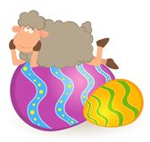 Easter sheep with colored egg Royalty Free Stock Image
