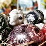 Easter sheep eggs and cards. Artistic look in vintage vivid colours. Stock Photos