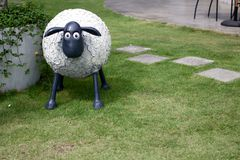 EASTER SHEEP IN GARDEN Stock Images