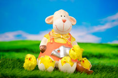 Easter sheep sheep sheep with chicks. On a green meadow Royalty Free Stock Images