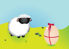 Easter sheep vector. This image is a vector illustration,with beauty cute sheep and big easter egg Royalty Free Stock Photography